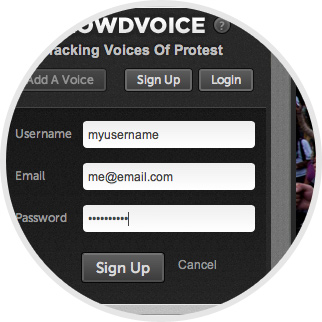 Crowdvoice - Enter a valid email address and choose your password image