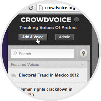 "Crowdvoice - Click ""Add a Voice"" to create a new topic. image"