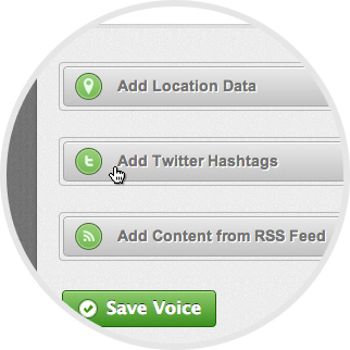 Crowdvoice - Fill out the advanced data-curation fields, including with relevant <strong>Twitter hashtags</strong> and <strong>RSS</strong> feeds from which content will be pulled. image