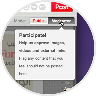 "Crowdvoice - To moderate posts for an existing voice, click the ""Moderate"" tab on the voice page. Approve a post by clicking the thumbs-up button. Disapprove a post by clicking the thumbs-down button. Flag a post as spam by clicking the flag icon. image"